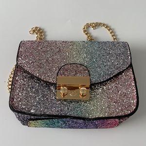 Olivia Miller Girls Rainbow Glitter Crossbody Bag